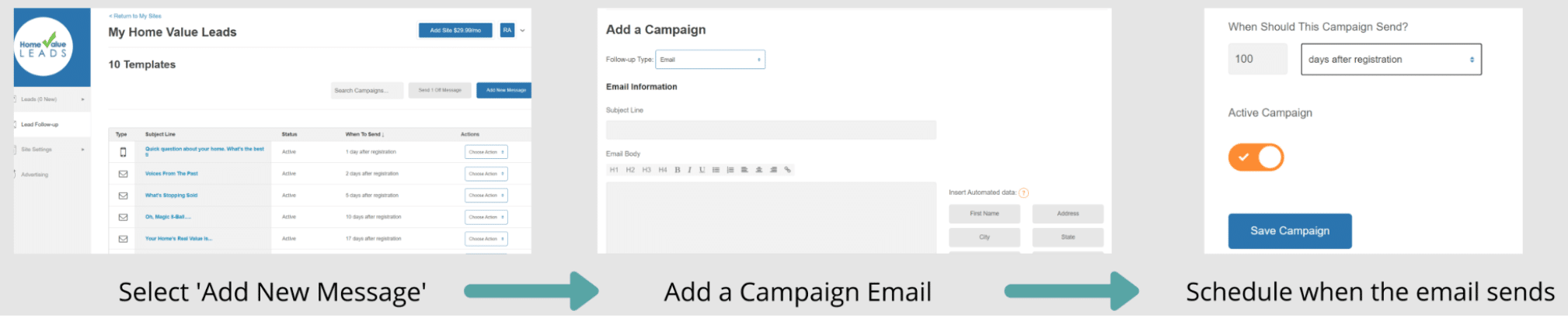 Screenshot of Email set up schedule when to send emails