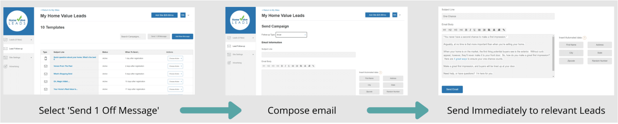 Screenshot of Email set up to relevant leads