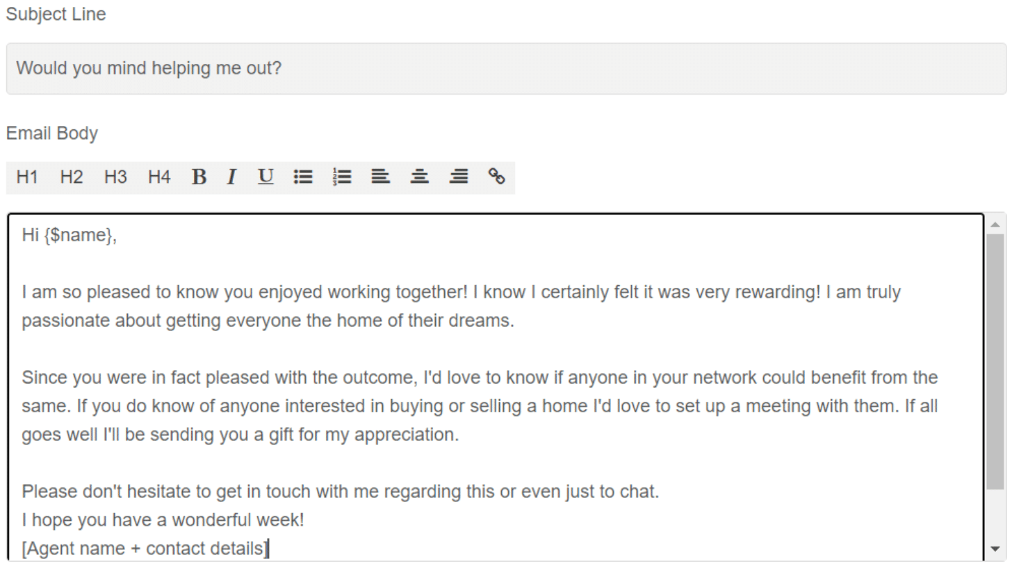 Screenshot of example referral email
