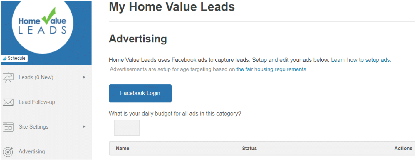 home value leads facebook ads setup screen