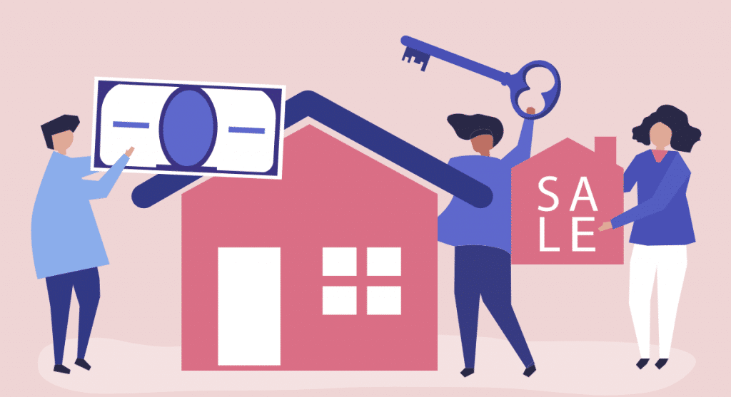 Illustration of selling a house