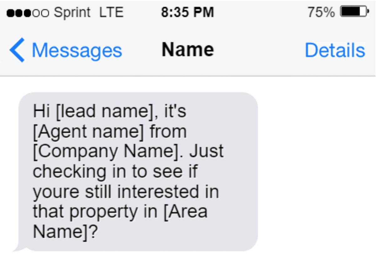 Screenshot of SMS Message example Prompting a Passive Lead