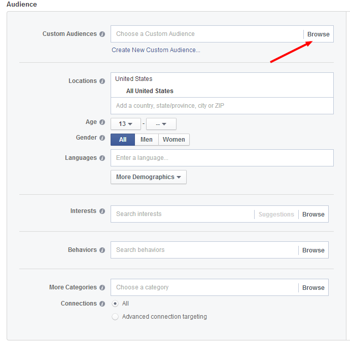 Selecting Facebook Retargeting In Ad Manager