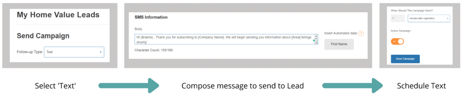 Screenshot of Schedule Campaign SMS Setup Step by Step