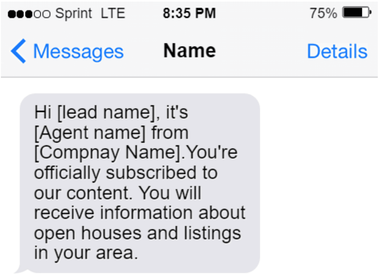 Screenshot of SMS Message example welcoming a new subscriber