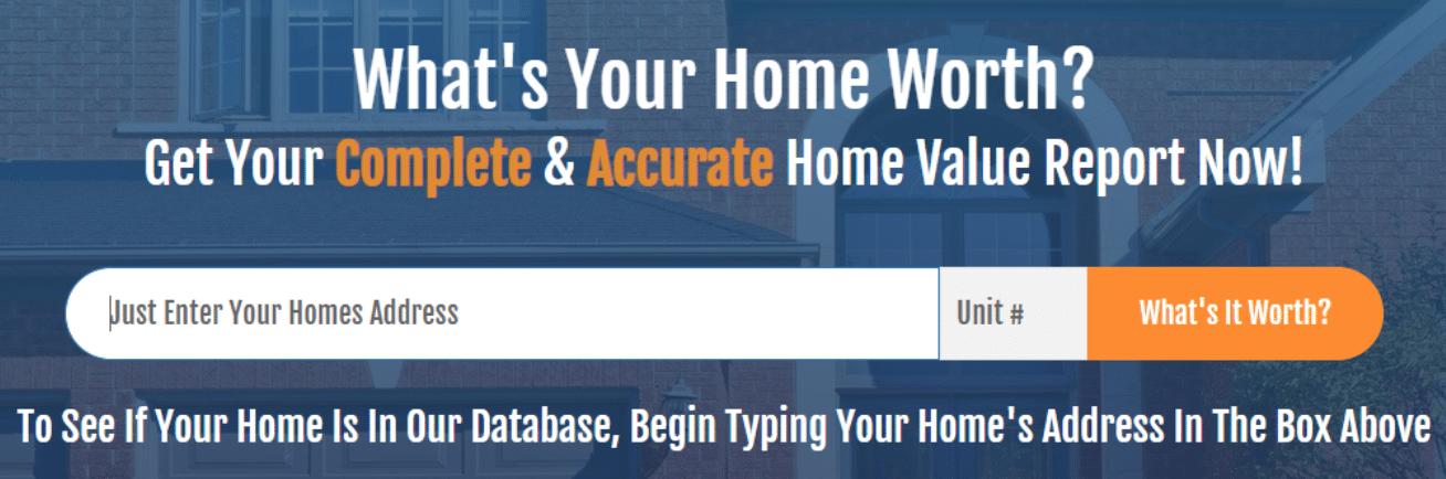 Screenshot of the how much my house worth widget